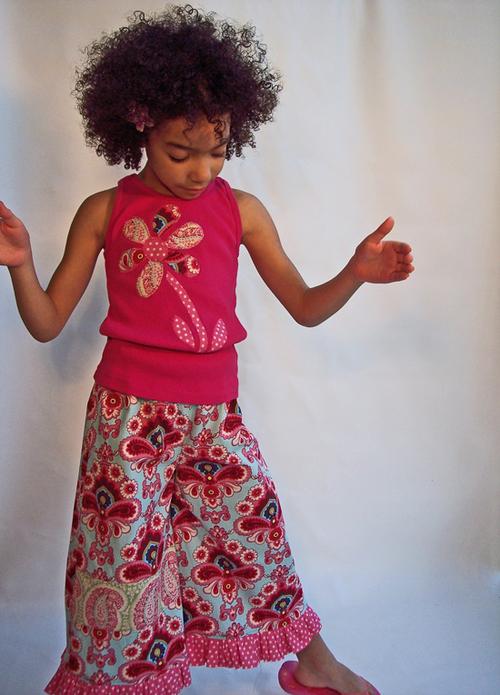 Belle Blossoms Ruffle Pant & Applique Tank Set