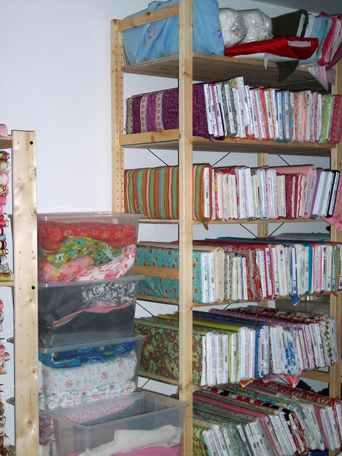 More tidy fabric bolts and organized bins